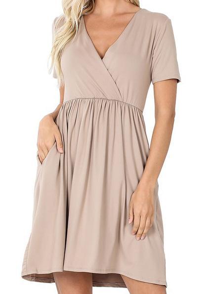 Simple Ash Mocha Dress For Women