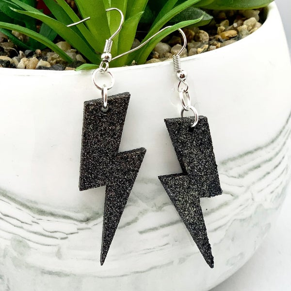 Black Glitter Lightning Bolt Earrings *Final Sale*