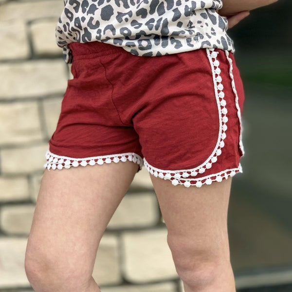 Wine Frill Shorts For Girls
