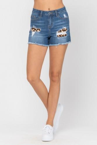 Judy Blue Leopard Patch Shorts