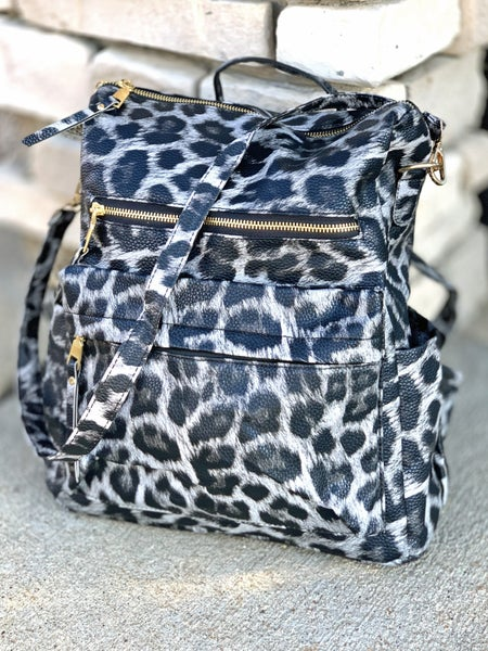 Gray Animal Print Convertible Backpack Purse