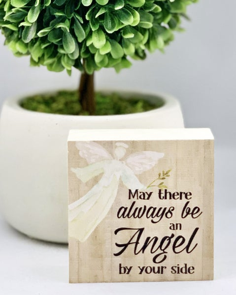 Angel By Your Side Mini Wood Sign