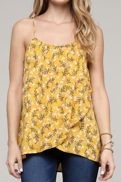 Mustard Floral Tank Top For Women