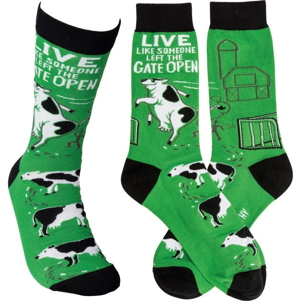 Live Like Someone Left The Gate Open Socks - Adult *Final Sale*