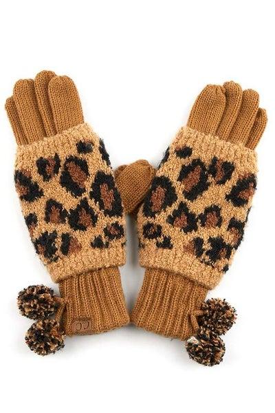 C.C. Latte Animal Print Gloves For Women