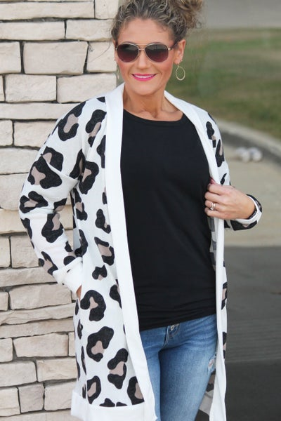 Ivory Animal Print Cardigan For Women