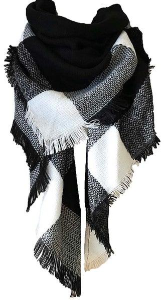 Black & White Blanket Scarf For Women *Final Sale*