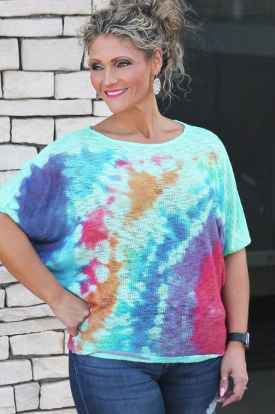 Mint Tie Dye Dolman Top For Women *Final Sale*