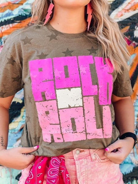 Vintage Rock N' Roll Graphic Tee For Women