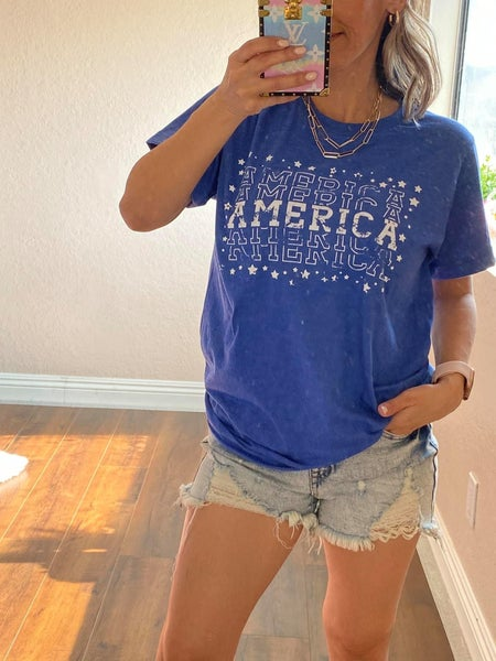 Blue Distressed America Graphic Tee For Women