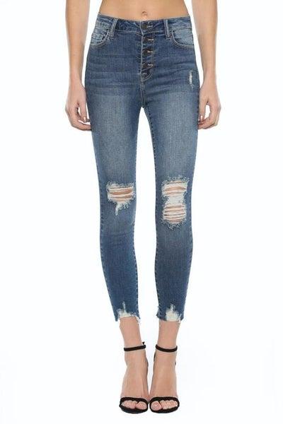 Cello High Rise Raw Hem Skinny Jeans