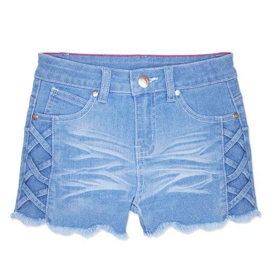 Criss Cross Light Denim Shorts For Girls