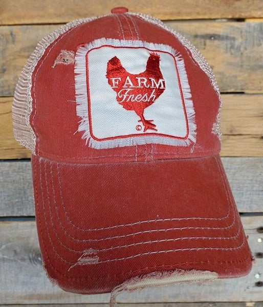 Farm Fresh Distressed Trucker Hat For Adults *Final Sale*