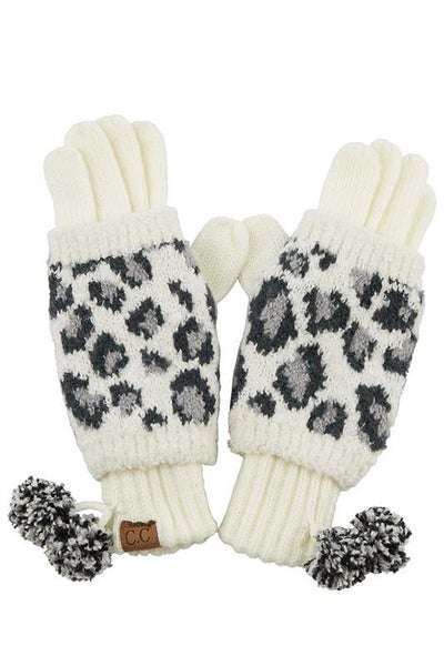 C.C. Ivory Animal Print Gloves For Women