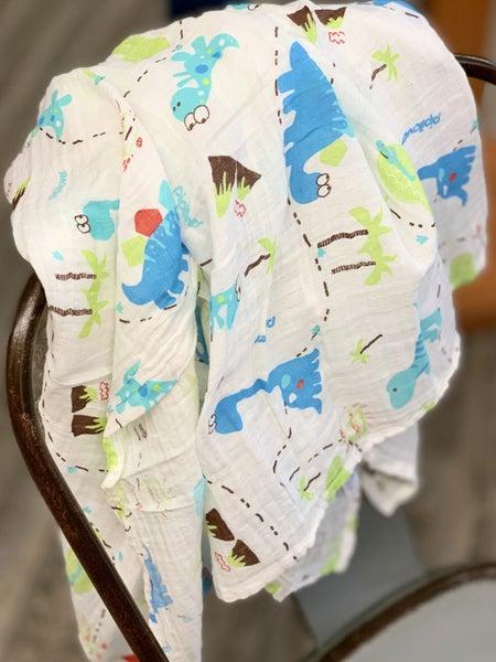 Dinosaur Muslin Baby Blanket *Final Sale*