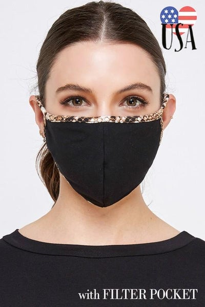 Snake Print Trim Facial Protector With Filter Pocket For Adults