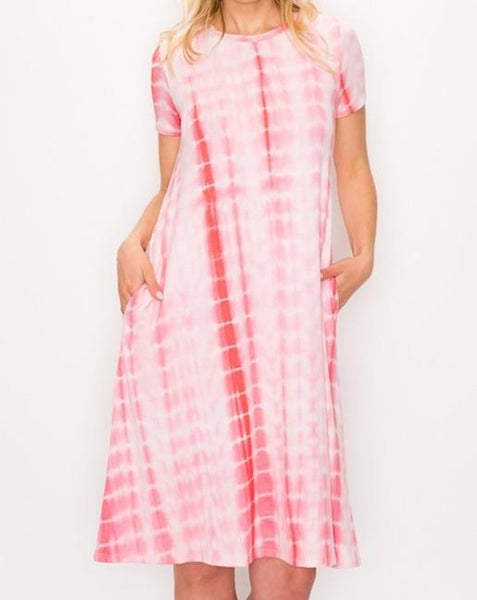Coral Stripe Tie Dye Dress For Women *Final Sale*