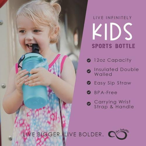 Kids Mint & Coral Ombre 12oz Sports Bottle