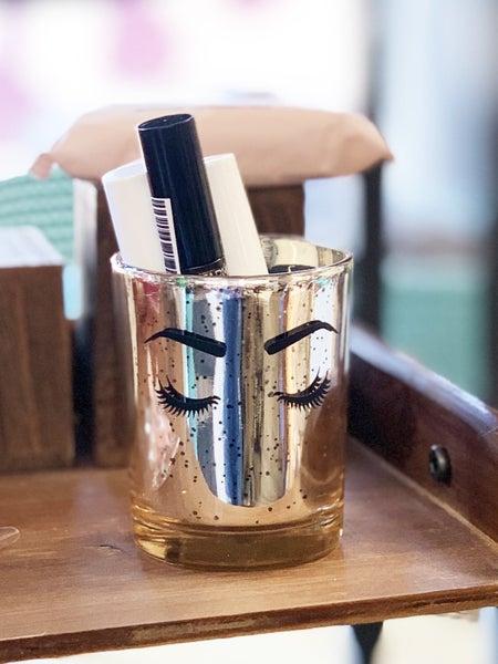Gold Glitter Makeup Brush Holder - Lashes *Final Sale*