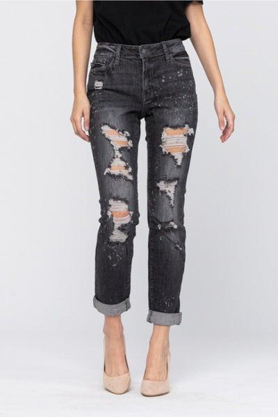 Judy Blue Black Boyfriend Bleach Splatter Jeans
