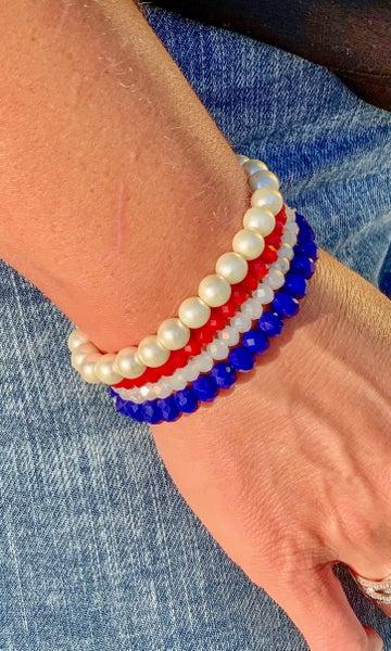 Red White & Blue Bracelet Stack For Women *Final Sale*