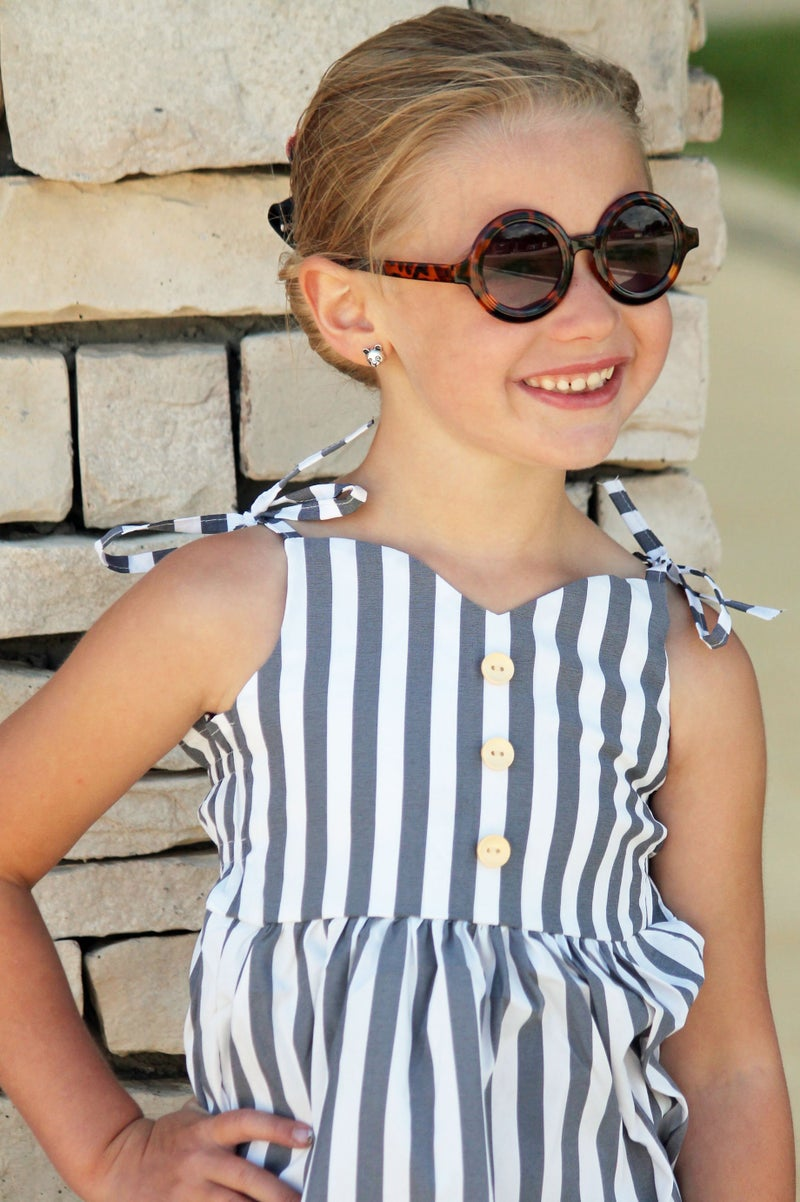 Gray & White Stripe Top For Girls *Final Sale*