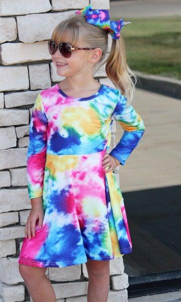 Fuchsia Tie Dye Dress For Girls