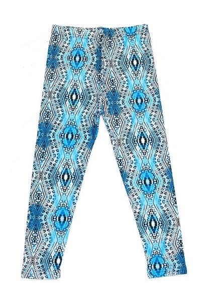 Blue Aztec Leggings For Girls