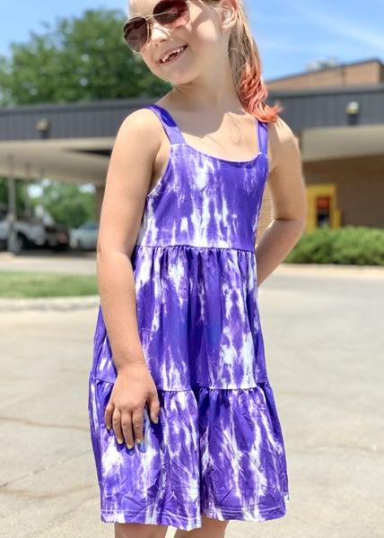 Purple Tiered Tie Dye Dress For Girls