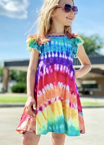 Classic Tie Dye Dress For Girls