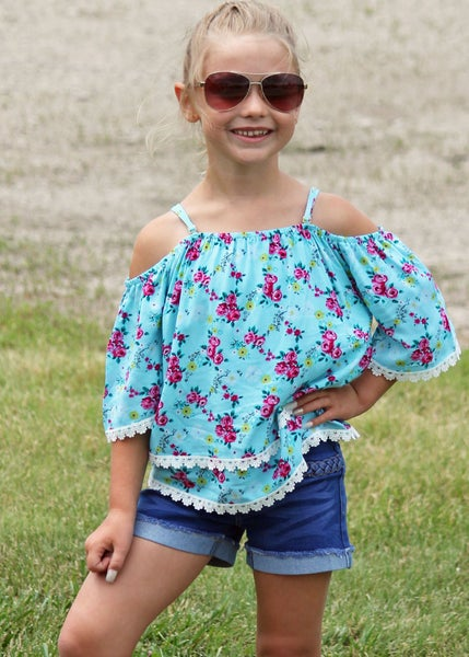 Turquoise Off Shoulder Top For Girls