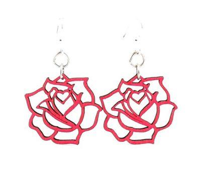 Red Rose Wood Earrings *Final Sale*