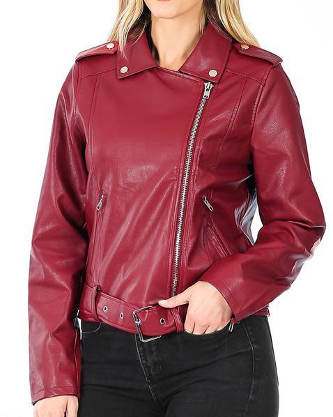 Dark Red Rocker Jacket For Women
