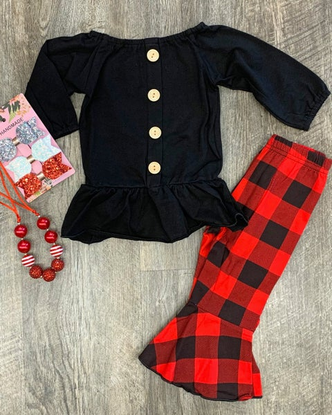 Crazy About Buffalo Plaid 2pc Set For Girls