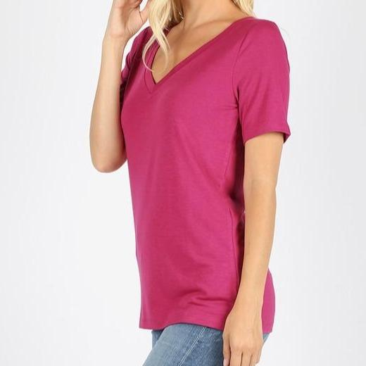 Everyday Magenta V-Neck Tee For Women *Final Sale*