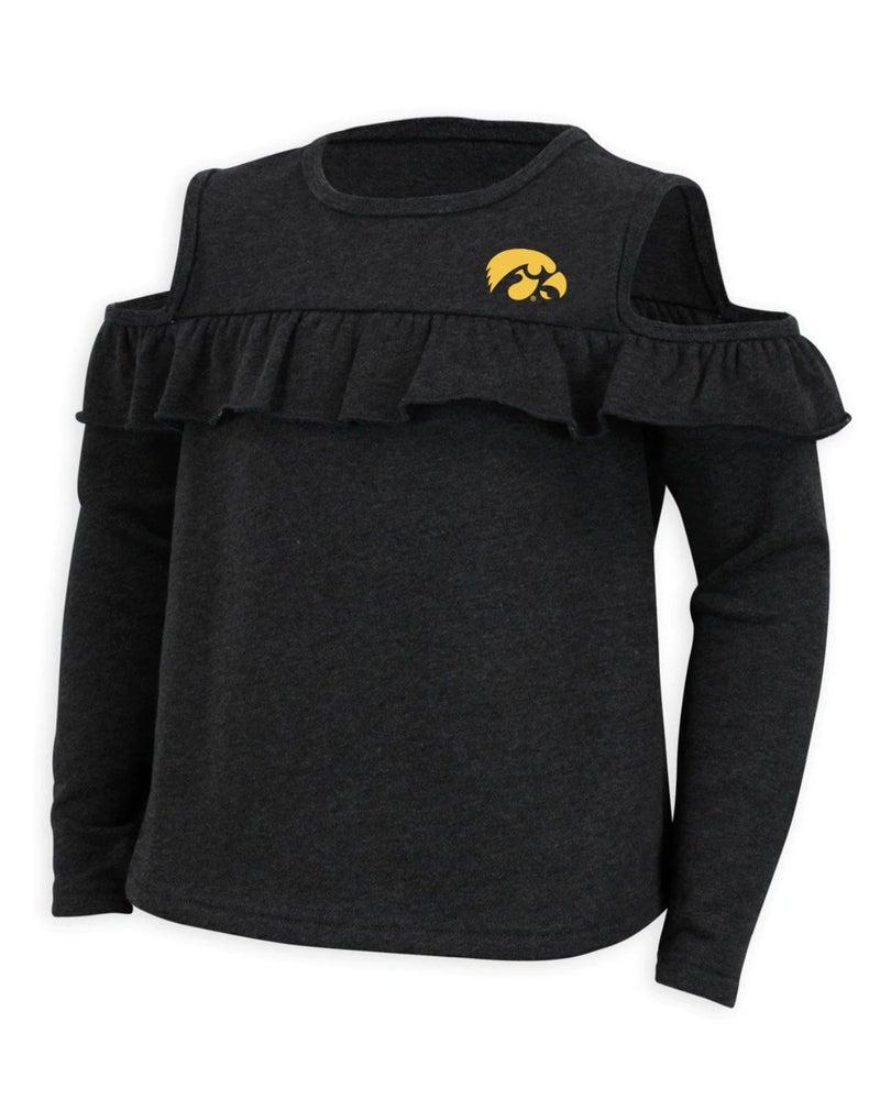 Iowa Cold Shoulder Ruffle Top For Girls