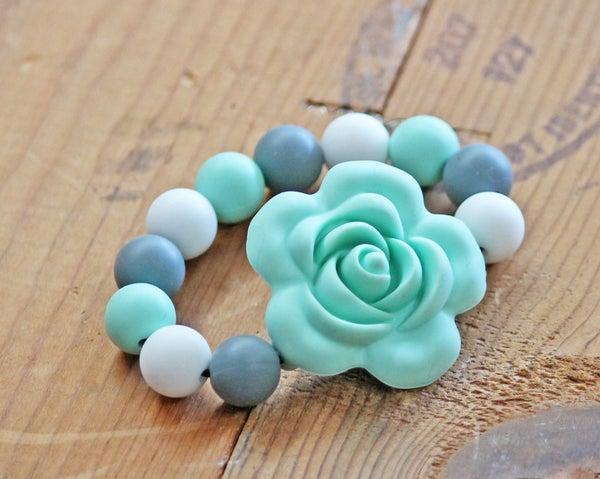 Mint Flower Teething Bracelet / Toy *Final Sale*