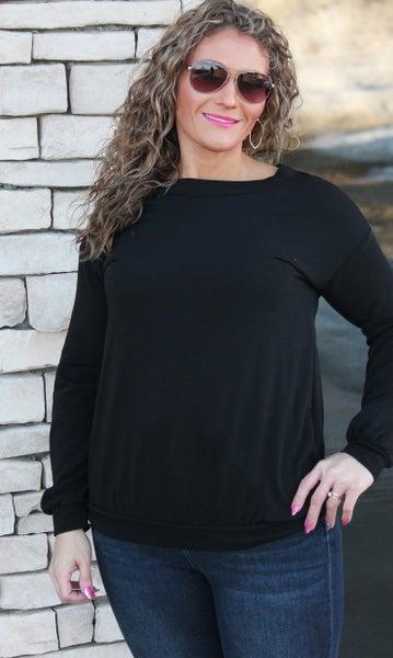Cozy Black Long Sleeve Top For Women