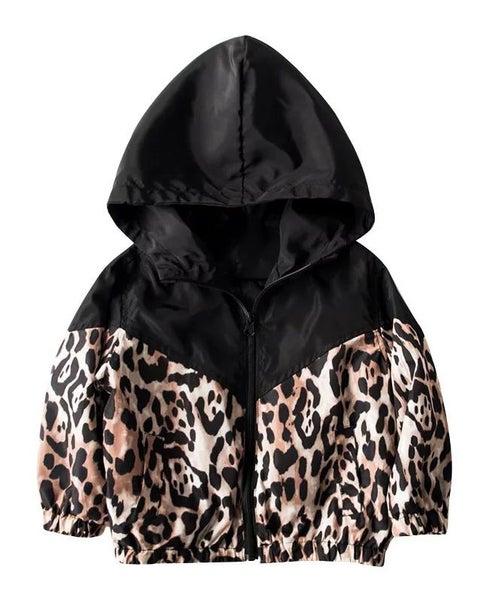Animal Print Windbreaker Jacket For Girls