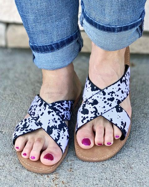 Very G Seaside White Black Sandals For Women