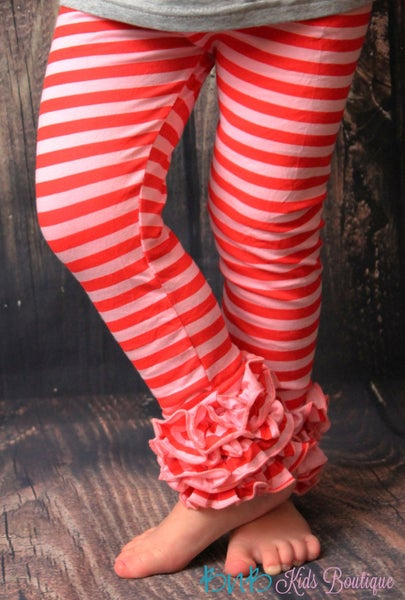 Red & Pink Stripe Ruffle Legging For Girls *Final Sale*