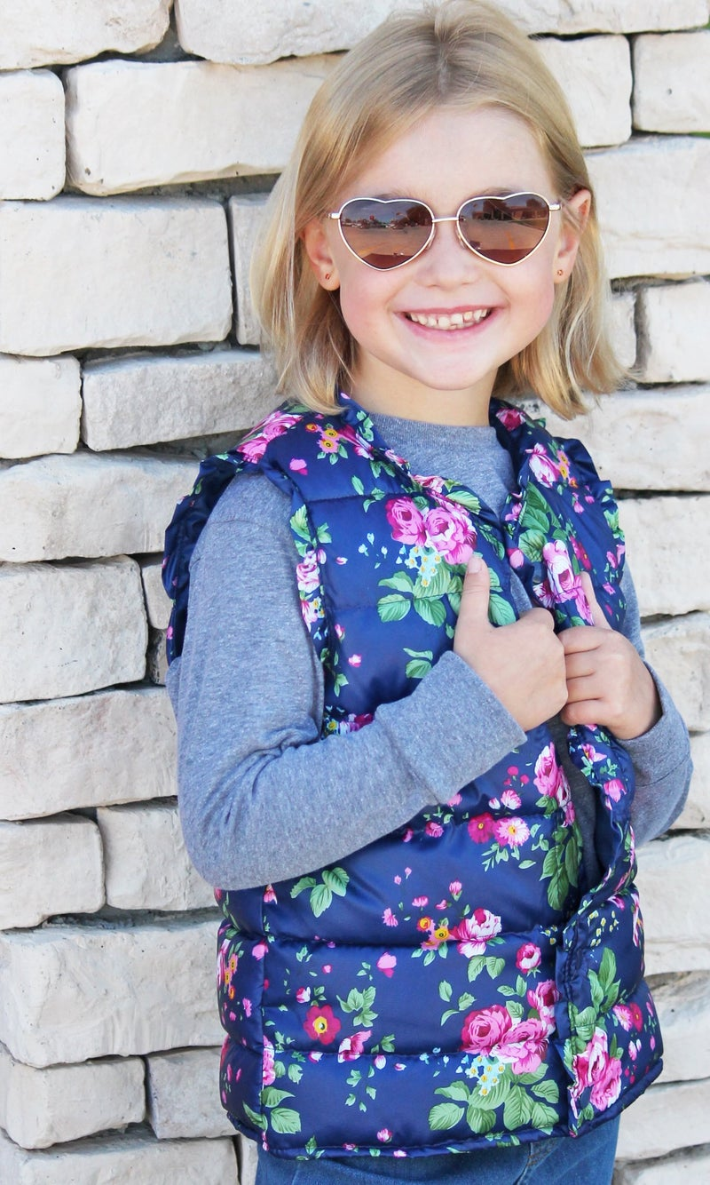 Floral Puffer Vest - Girls *Final Sale*