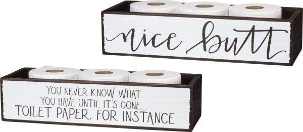 Nice Butt Toilet Paper Wooden Bin