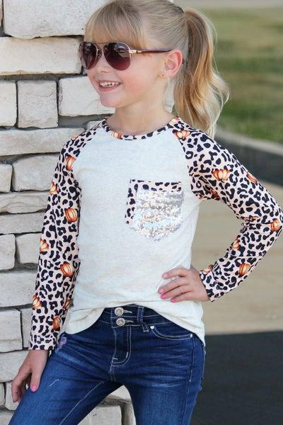 Pumpkin Animal Print Top For Girls *Final Sale*