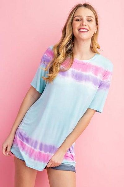 Aqua Stripe Tie Dye Top For Women