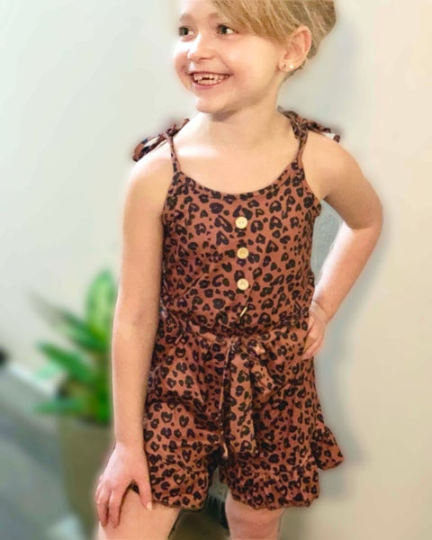 Belted Animal Print Romper For Girls