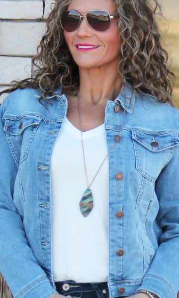 Patina Wire Wrapped Long Necklace For Women *Final Sale*