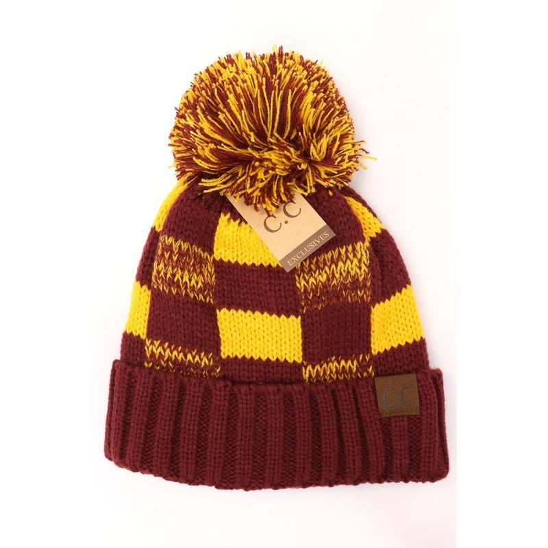 C.C. Maroon & Gold Pom Beanie For Adults *Final Sale*