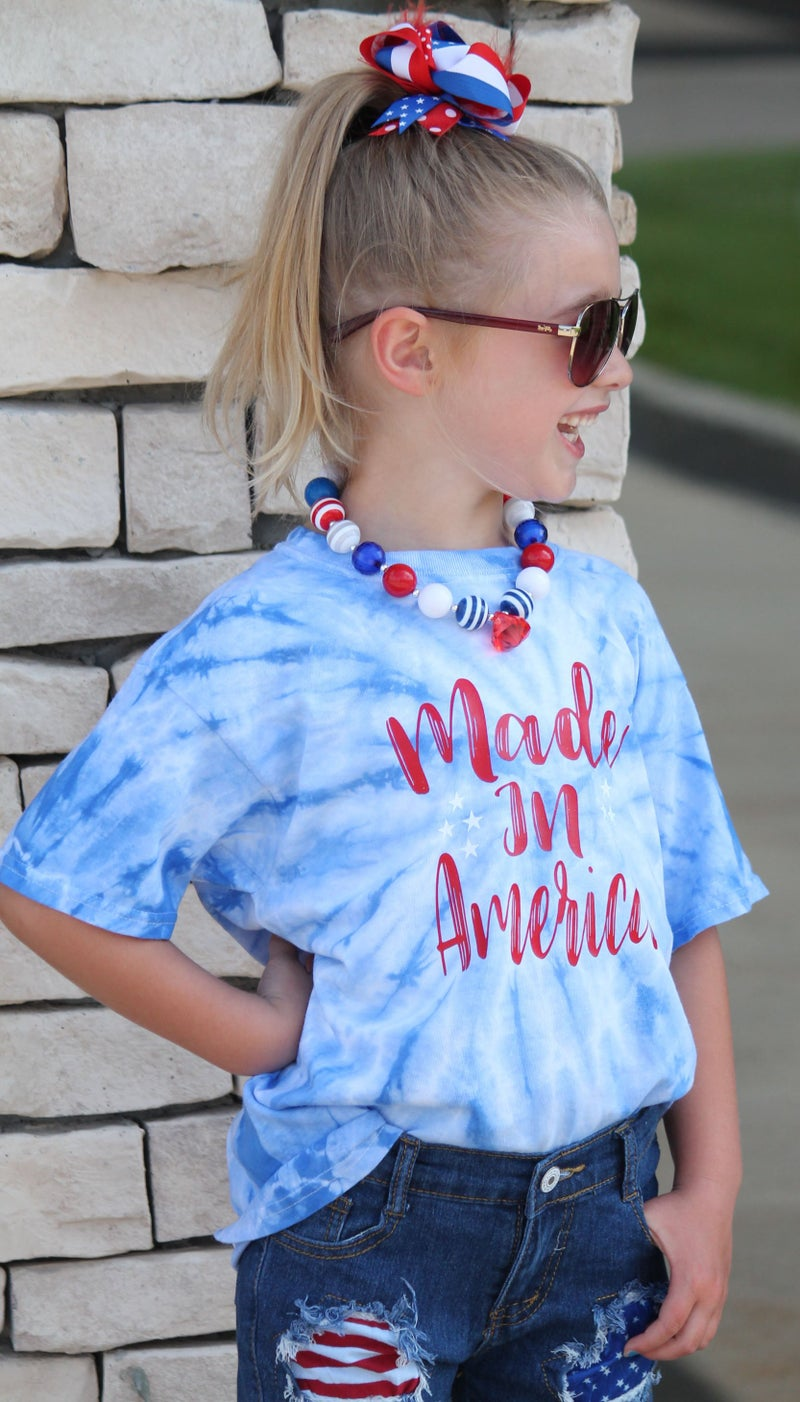 Made In America Tie Dye Graphic Tee For Youth *Final Sale*