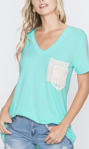 Mint Lace Pocket Top For Women